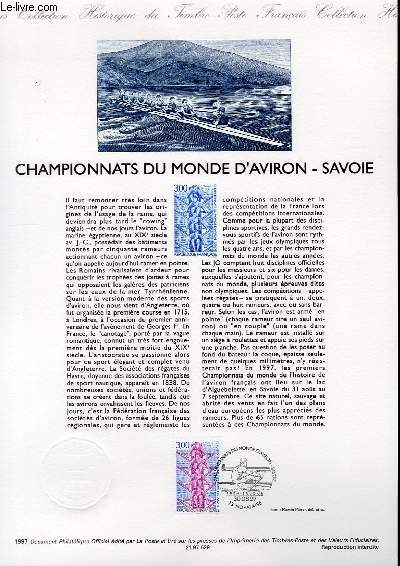 DOCUMENT PHILATELIQUE OFFICIEL - CHAMPIONNATS DU MONDE D'AVIRON - SAVOIE (N°3102 YVERT ET TELLIER)