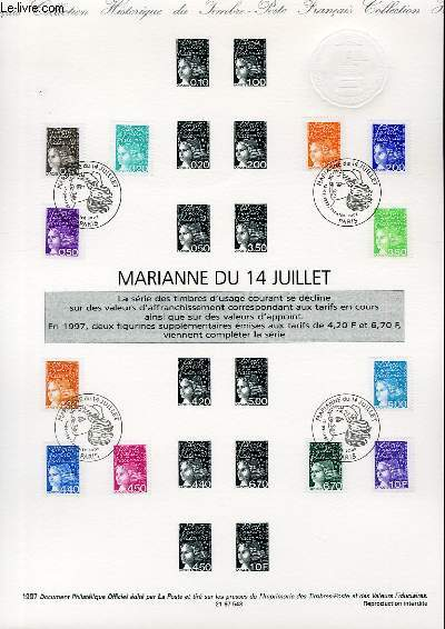 DOCUMENT PHILATELIQUE OFFICIEL - MARIANNE DU 14 JUILLET (N�3083-3091-3095 YVERT ET TELLIER)