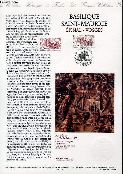 DOCUMENT PHILATELIQUE OFFICIEL - BASILIQUE SAINT-MAURICE EPINAL VOSGES (N�3108 YVERT ET TELLIER)