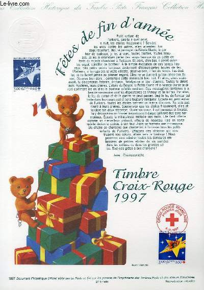 DOCUMENT PHILATELIQUE OFFICIEL - TIMBRE CROIX-ROUGE 1997 - FETES DE FIN D'ANNE (N°3122 YVERT ET TELLIER)