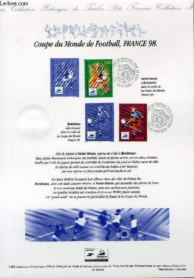 DOCUMENT PHILATELIQUE OFFICIEL - COUPE DU MONDE DE FOOTBALL, FRANCE 98 (N°3130-3131 YVERT ET TELLIER)