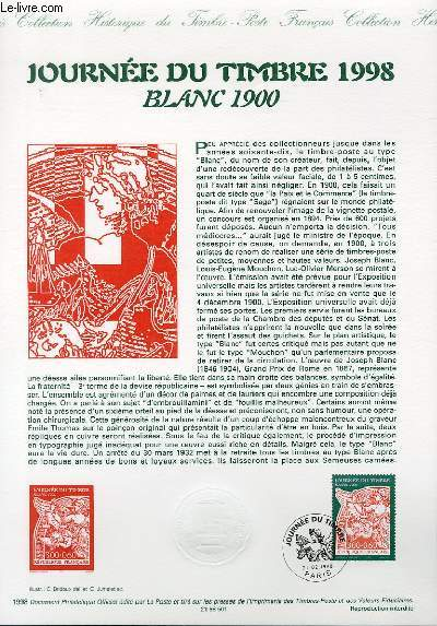 DOCUMENT PHILATELIQUE OFFICIEL - JOURNEE DU TIMBRE 1998 - BLANC 1900 (N°3139 YVERT ET TELLIER)