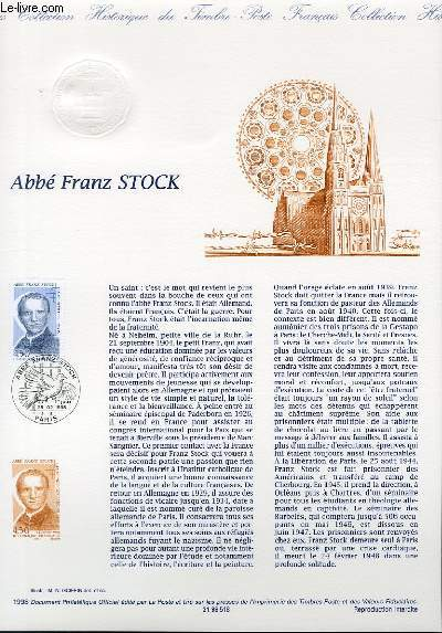 DOCUMENT PHILATELIQUE OFFICIEL - ABBE FRANZ STOCK (N�313 YVERT ET TELLIER)