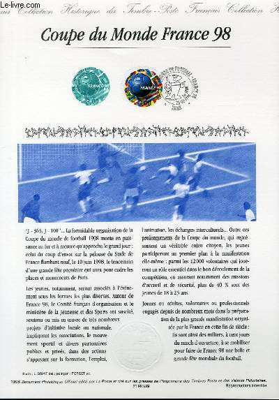 DOCUMENT PHILATELIQUE OFFICIEL - COUPE DU MONDE FRANCE 98 (N�3139 YVERT ET TELLIER)