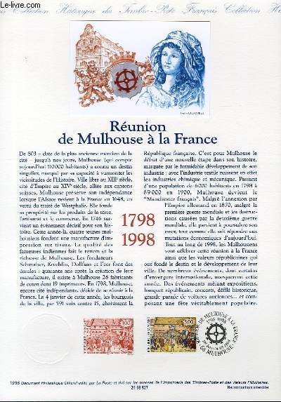 DOCUMENT PHILATELIQUE OFFICIEL - REUNION DE MULHOUSE A LA FRANCE (N°3142 YVERT ET TELLIER)