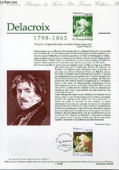 DOCUMENT PHILATELIQUE OFFICIEL - DELACROIX 1798-1863 (N�3147 YVERT ET TELLIER)