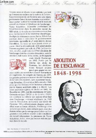 DOCUMENT PHILATELIQUE OFFICIEL - ABOLITION DE L'ESCLAVAGE 1848-1998 (N�3148 YVERT ET TELLIER)