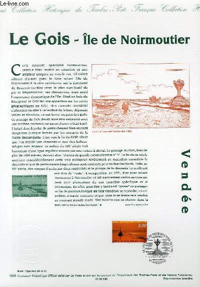 DOCUMENT PHILATELIQUE OFFICIEL - LE GOIS ILE DE NOIRMOUTIER VENDEE (N°3161 YVERT ET TELLIER)