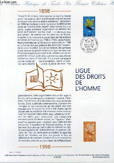 DOCUMENT PHILATELIQUE OFFICIEL - LIGUE DES DROITS DE L'HOMME (N°3149 YVERT ET TELLIER)