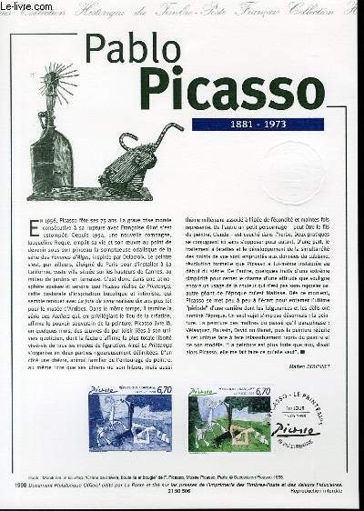 DOCUMENT PHILATELIQUE OFFICIEL - PABLO PICASSO 1881-1973 (N�3162 YVERT ET TELLIER)
