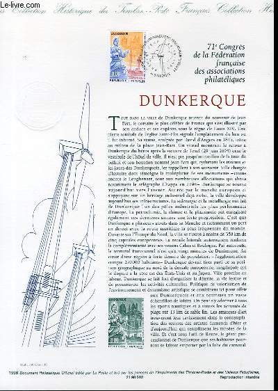 DOCUMENT PHILATELIQUE OFFICIEL - 71° CONGRES DE LA FEDERATION FRANCAISE DES ASSOCIATIONS PHILATELIQUES - DUNKERQUE (N°316 YVERT ET TELLIER)
