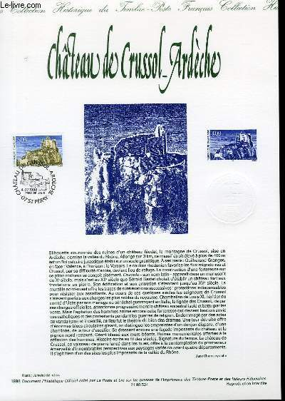 DOCUMENT PHILATELIQUE OFFICIEL - CHATEAU DE CRUSSOL-ARDECHE (N°3169 YVERT ET TELLIER)