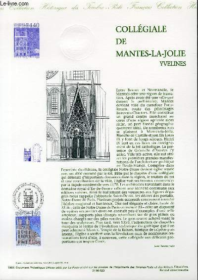 DOCUMENT PHILATELIQUE OFFICIEL - COLLEGIALE DE MANTE LA JOLIE - YVELINES (N°3180 YVERT ET TELLIER)