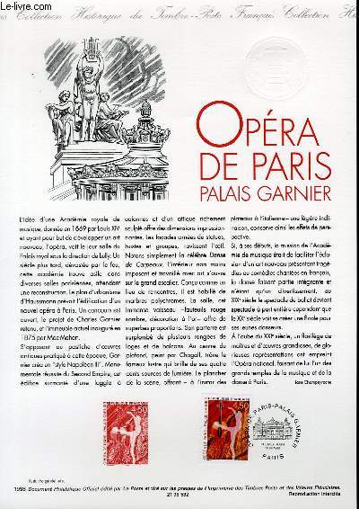 DOCUMENT PHILATELIQUE OFFICIEL - OPERA DE PARIS PALAIS GARNIER (N°3181 YVERT ET TELLIER)