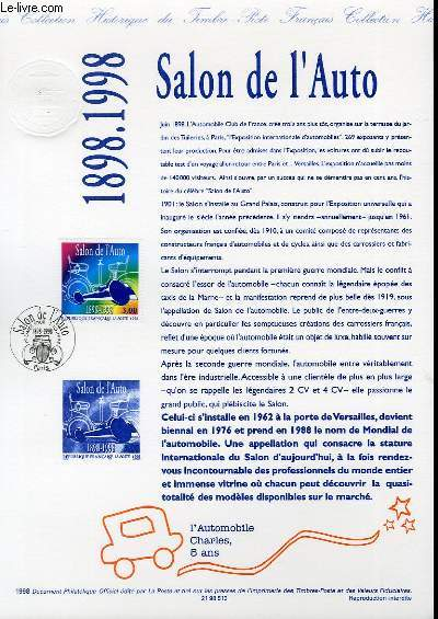 DOCUMENT PHILATELIQUE OFFICIEL - SALON DE L'AUTO 1898-1998 (N°3186 YVERT ET TELLIER)