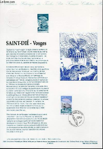 DOCUMENT PHILATELIQUE OFFICIEL - SAINT-DIE VOSGES (N°3494 YVERT ET TELLIER)