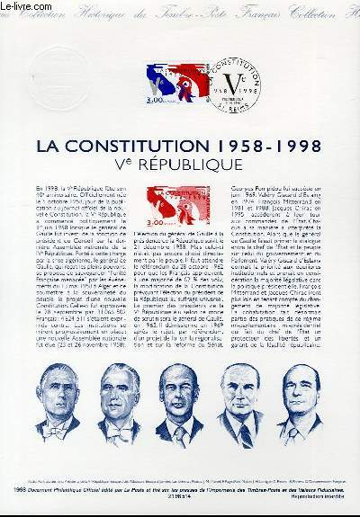 DOCUMENT PHILATELIQUE OFFICIEL - LA CONSTITUTION 1958-1998 - 5° REPUBLIQUE (N°3195 YVERT ET TELLIER)