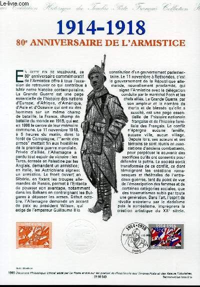 DOCUMENT PHILATELIQUE OFFICIEL - 1914-1918 - 80° ANNIVERSAIRE DE L'ARMISTICE (N°3196 YVERT ET TELLIER)