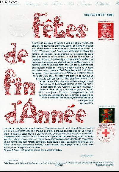 DOCUMENT PHILATELIQUE OFFICIEL - CROIX-ROUGE - FETES DE FIN D'ANNEE (N�3199 YVERT ET TELLIER)
