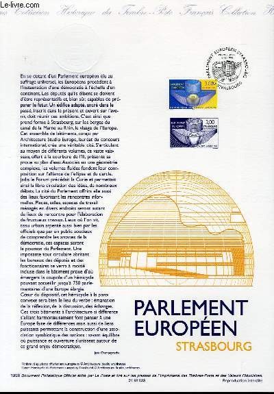 DOCUMENT PHILATELIQUE OFFICIEL - PARLEMENT EUROPEEN STRASBOURG (N°3206 YVERT ET TELLIER)