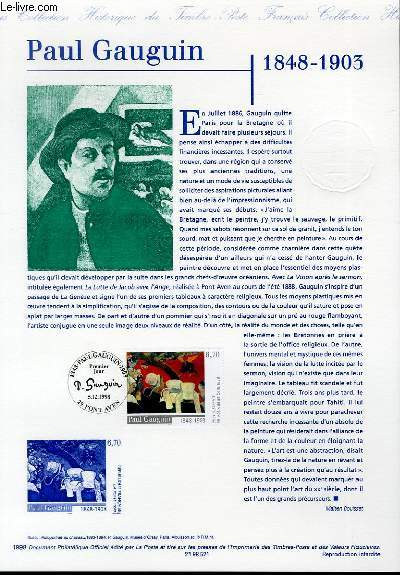 DOCUMENT PHILATELIQUE OFFICIEL - PAUL GAUGUIN 1848-1903 (N°3207 YVERT ET TELLIER)