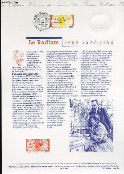 DOCUMENT PHILATELIQUE OFFICIEL - LE RADIUM 1898-948-1998 (N�3210 YVERT ET TELLIER)