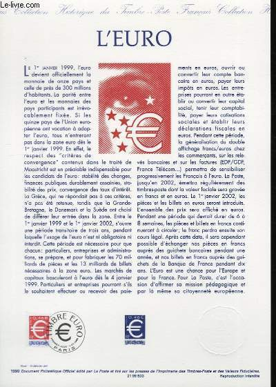 DOCUMENT PHILATELIQUE OFFICIEL - LE TIMBRE EURO (N°3214 YVERT ET TELLIER)