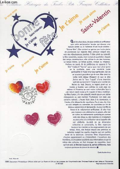 DOCUMENT PHILATELIQUE OFFICIEL - BONNE FETE SAINT VALENTIN (N°3218-3219 YVERT ET TELLIER)
