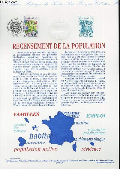 DOCUMENT PHILATELIQUE OFFICIEL - RECESEMENT DE LA POPULATION (N°3223 YVERT ET TELLIER)