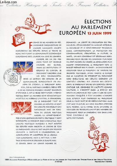 DOCUMENT PHILATELIQUE OFFICIEL - ELECTIONS AU PARLEMENT EUROPEEN 13 JUIN 1999 (N°323 YVERT ET TELLIER)