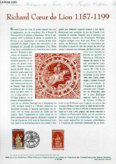 DOCUMENT PHILATELIQUE OFFICIEL - RICHARD COEUR DE LION 1157-1199 (N°3238 YVERT ET TELLIER)