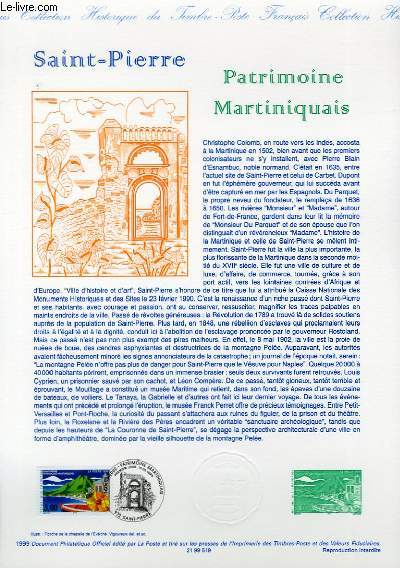 DOCUMENT PHILATELIQUE OFFICIEL - SAINT PIERRE - PATRIMOINE MARTINIQUAIS (N°3244 YVERT ET TELLIER)