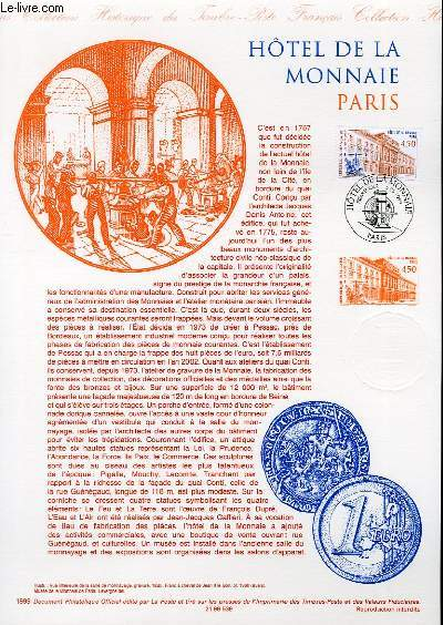 DOCUMENT PHILATELIQUE OFFICIEL - HOTEL DE LA MONNAIE PARIS (N°3252 YVERT ET TELLIER)