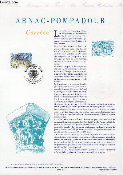 DOCUMENT PHILATELIQUE OFFICIEL - ARNAC-POMPADOUR - CORREZE (N�3279 YVERT ET TELLIER)