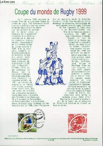 DOCUMENT PHILATELIQUE OFFICIEL - COUPE DU MONDE DE RUGBY 1999 (N°3280 YVERT ET TELLIER)