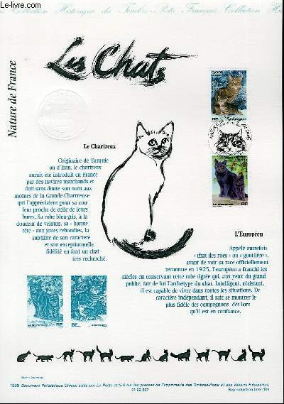 DOCUMENT PHILATELIQUE OFFICIEL - NATURE DE FRANCE - LES CHATS (N°3283 - 3284 YVERT ET TELLIER)