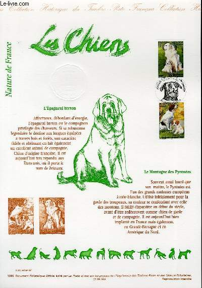 DOCUMENT PHILATELIQUE OFFICIEL - NATURE DE FRANCE - LES CHIENS (N°3285-3286 YVERT ET TELLIER)
