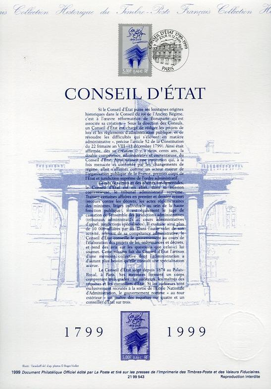 DOCUMENT PHILATELIQUE OFFICIEL - CONSEIL D'ETAT 1799-1999 (N°3293 YVERT ET TELLIER)