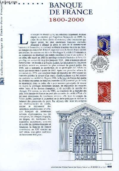 DOCUMENT PHILATELIQUE OFFICIEL - BANQUE DE FRANCE 1800-2000 (N°3299 YVERT ET TELLIER)