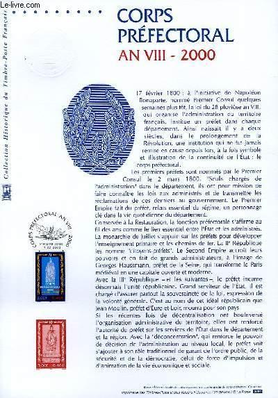 DOCUMENT PHILATELIQUE OFFICIEL - CORPS PREFECTORAL AN 8 - 2000 (N°3300 YVERT ET TELLIER)