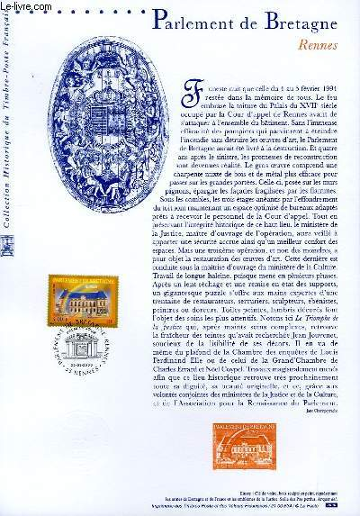 DOCUMENT PHILATELIQUE OFFICIEL - PARLEMENT DE BRETAGNE - RENNES (N°3307 YVERT ET TELLIER)