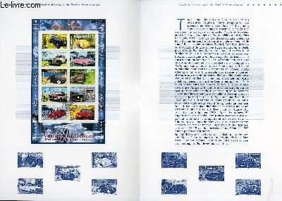 DOCUMENT PHILATELIQUE OFFICIEL - PHILEXJEUNES 2000 - VOITURES ANCIENNES - ANNECY (N�3317-3326 YVERT ET TELLIER)