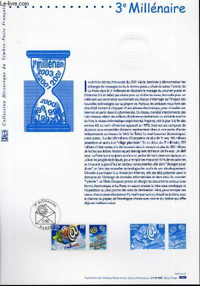 DOCUMENT PHILATELIQUE OFFICIEL - 3° MILLENAIRE (N°3365 YVERT ET TELLIER)