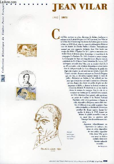 DOCUMENT PHILATELIQUE OFFICIEL - JEAN VILAR 1912-1971 (N°3398 YVERT ET TELLIER)