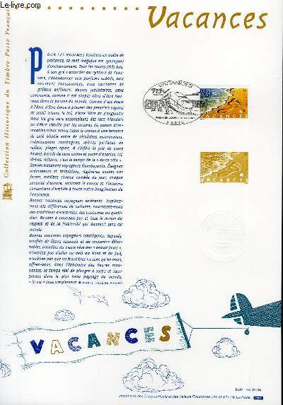 DOCUMENT PHILATELIQUE OFFICIEL - VACANCES (N�3399 YVERT ET TELLIER)