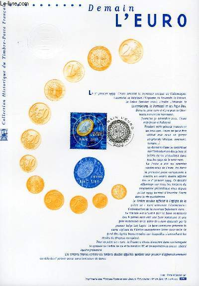DOCUMENT PHILATELIQUE OFFICIEL - DEMAIN L'EURO (N°3402 YVERT ET TELLIER)