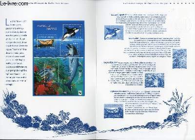 DOCUMENT PHILATELIQUE OFFICIEL - COLLECTION NATURE : ANIMAUX MARINS : LA TORTUE LUTH, L'ORQUE, LE GRAND DAUPHIN, LE PHOQUE VEAU MARIN (N°3485-3488 YVERT ET TELLIER)