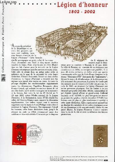 DOCUMENT PHILATELIQUE OFFICIEL - LEGION D'HONNEUR 1802-2002 (N°3490 YVERT ET TELLIER)