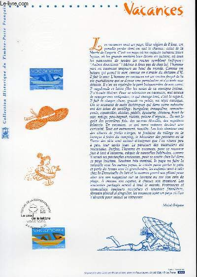 DOCUMENT PHILATELIQUE OFFICIEL - VACANCES (N°3493 YVERT ET TELLIER)