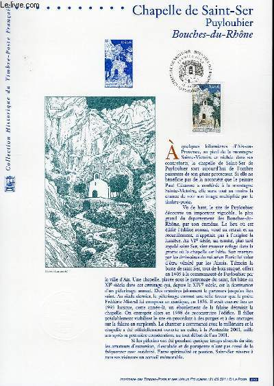 DOCUMENT PHILATELIQUE OFFICIEL - CHAPELLE DE SAINT-SER - PUYLOUBIER - BOUCHES DU RHONE (N°3496 YVERT ET TELLIER)